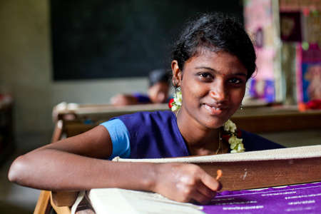 A young learner at the Artyzan Academy in Puducherry, India. This academy is supported by Children of the World India.