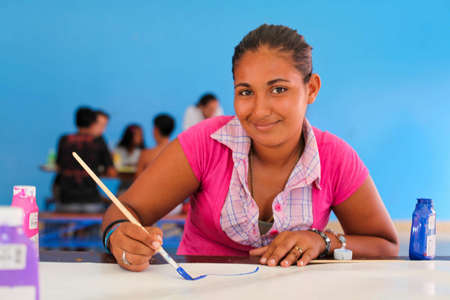 Blanca is a member of the Street Child World Cup's Nicaraguan team 2014. Here she takes part in an art class in Nicaragua.