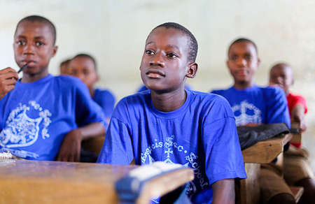 Waiting the for the teacher to start the class in Makeni, Sierra Leone.Taken for the Craig Bellamy Foundation. 2014